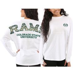 Women s Colorado State Rams White Aztec Sweeper Long Sleeve Oversized Top  College Wear d77566aeb