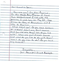 A pen pal letter from a student in nepal to her friend in a la cueva high school student writes to their pen pal in spain spain is spiritdancerdesigns Images