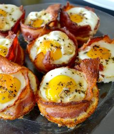 Just bacon on bottom and sides, one egg, in greased muffin pan. 20mins in 350 oven