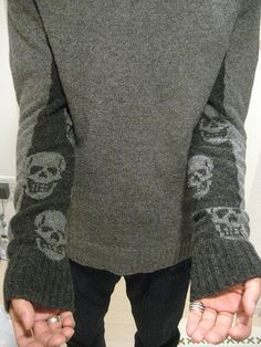 Grey Sweater with Skull Sleeves