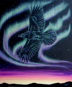 Sky Dance Series of a raven in the night by Amy Keller-Rempp Art. by acrylic on canvas. Original still available, giclee prints and fine art cards also available. Canadian Wildlife, Aboriginal Artists, Art Cards, Spirit Animal, Night Skies, Raven, Giclee Print, Northern Lights, Amy