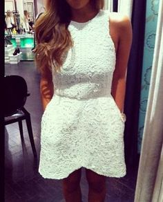 White in the summer // #fashion #trends #summer #white #lace #dress