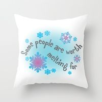 Some people are worth melting for - Disney Frozen - Olaf Anna Elsa Throw Pillow