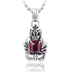 Mens Gothic Antiqued Cross Red Gemstone Crown 925 Sterling Silver Pendant Necklace