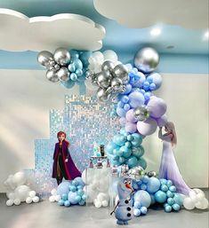 Frozen Party Decorations, Birthday Balloon Decorations, Girl Baby Shower Decorations, Frozen Birthday Theme, Frozen Theme Party, Birthday Parties, Baby Shower Balloons, Party Themes, Elsa