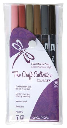 Tombow® Dual Brush Pens - Grunge Colors - 6 pack #TheCraftCollection