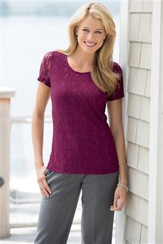 Shop Chadwicks of Boston's women's clothing online catalog for affordable and classic ladies & women's apparel, shoes & accessories. Lace Jacket, Stretch Lace, Stretches, Classy, V Neck, Clothes For Women, Womens Fashion, Jackets, Shopping