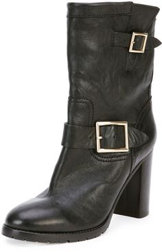 "The Jimmy Choo Dart biker ankle boot feminizes the look with an almost 4"" stacked chunky heel."