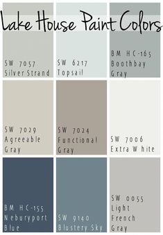 The Best Lake House Paint Colors - calming blue and gray tones that all coordinate for a seamless color pallet for a lake home. The Best Lake House Paint Colors - calming blue and gray tones that all coordinate for a seamless color pallet for a lake home. Pintura Exterior, Paint Colors For Home, Beachy Paint Colors, Coastal Colors, Nautical Paint Colors, Small Bedroom Paint Colors, Basement Wall Colors, Cottage Paint Colors, Country Paint Colors