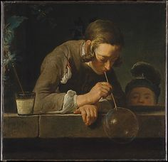 """Soap Bubbles"" (c.1733-34) Chardin. In this canvas Chardin drew inspiration from the 17 c. Dutch genre tradition & while it is not certain that he intended the picture to carry a message, soap bubbles were then understood to allude to the transience of life."