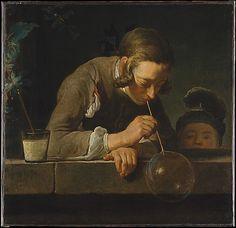 """Soap Bubbles,"" Jean Simeon Chardin, oil on canvas, c. 1733-34. Metropolitan Museum of Art accession no. 49.24"
