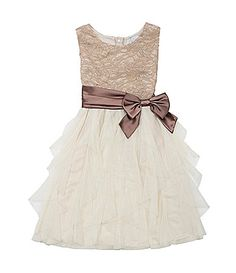 She will look fashion forward in this taupe glitter lace bodice to ivory cascade skirt. The bow around the waist adds a great touch. Girls Dresses, Flower Girl Dresses, Formal Dresses, Wedding Dresses, Daddy Daughter Dance Dresses, Look Fashion, Kids Fashion, Morgan Dress, Lace Bodice