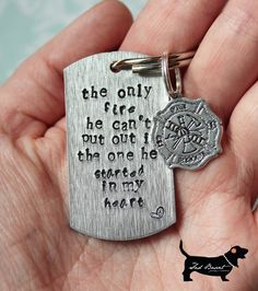 Hand-stamped Firefighter Love Keychain (with Maltese cross charm) | Shared by LION