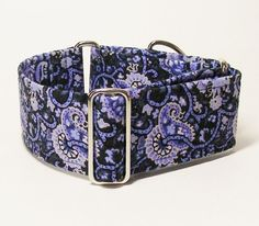 2 Inch Martingale Collar, Blue Paisley, Sighthound Collar, Greyhound Martingale, Galgo Collar