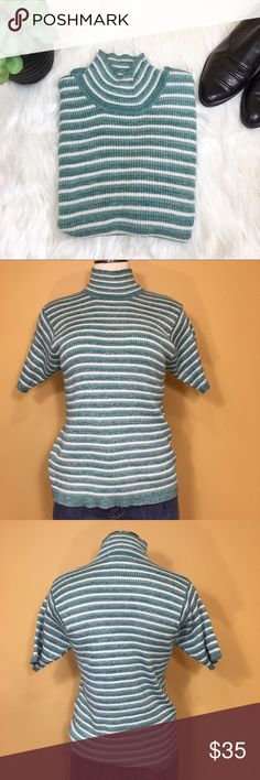 "Vintage NWT Lerner NY Jeans Striped Mock Neck I love when vintage becomes trendy again!  This vintage green and white with metallic interwoven mock neck is trendy again! Short sleeve.  From NY Jeans (New York & Company). New with tags - Lerner New York.  Size: Medium  Material: 54% ramie, 33% cotton, 8% nylon and 5% metallic.   Measurements (flat):  Armpit to armpit: 15.5"" Waist: 14.5"" Bottom hem: 14.5"" Length: 20.5"" Sleeve: 8.5"" Neck: 3"" Vintage Tops"
