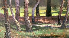 Władysław Podkowiński - landscape with trees oil, carton French Impressionist Painters, Tree Oil, Greek Mythology, Art Auction, Home Art, Landscape, Antiques, Gallery, Pictures
