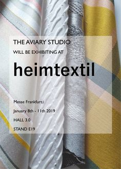 We will be exhibiting our current collection of woven swatches at Heimtextil in January Dates: Jan Hall Stand Come and see us! Frankfurt, Dates, Swatch, Hand Weaving, January, Studio, Collection, Design, Hand Knitting