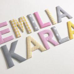 Stoffbuchstaben für zwei Schwestern in den Farben rosa/gelb/grau  #handmadeinmunich #handgemacht #handmade #norabellahome #girlsroom #mädchenzimmer #kinderzimmerdeko #babyzimmerdeko #baby2016 #babygeschenk #stoffbuchstaben #namensbuchstaben #name #individuell