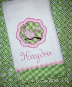 Monogrammed Personalized Embroidered - Whirly Bird Burp Cloth for Baby Girl