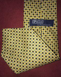 """Ralph Lauren Polo Golden Yellow Silk Necktie 56"""" Tie #PoloRalphLauren #Tie"""