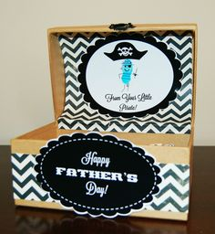 Pirate themed Father's Day gift box. The box is available in our crafts department and Detail-Oriented Diva offers these printables for free on her blog!