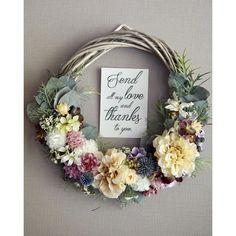 'rustic wedding' wreath bouquet:アンティーククリームのリースブーケ | ハンドメイドマーケット minne