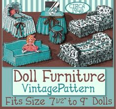 Make FURNITURE for your DOLL!  Sooooo cute!  Bed, Oversized Chair Otttoman, Loveseat, Vanity and Stool, plus a CRIB or Bassinet! DOWNLOAD NOW at eVINTAGEpatterns on etsy - Just $3.99!  PLUS Buy 2 e-patterns, get ANY 3rd for FREE!