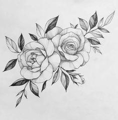 Ink Tattoo, Rose Drawing Tattoo, Rose Tattoo Stencil, Peony Drawing, Flower Tattoo Drawings, Blue Tattoo, Art Tattoos, Floral Tattoo Design, Flower Tattoo Designs