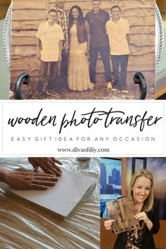 Transferring photos to wood is one of my favorite DIY photo ideas! These are perfect for wedding gifts, Christmas gifts or any occasion for Handmade gifts! Diy Crafts For Girls, Diy Home Crafts, Diy Arts And Crafts, Diy Crafts To Sell, Wood Crafts, Photo Onto Wood, Picture On Wood, Photo Craft, Diy Photo