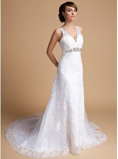 A-Line/Princess V-neck Chapel Train Satin Tulle Wedding Dress With Lace Beading (002014709) - JJsHouse
