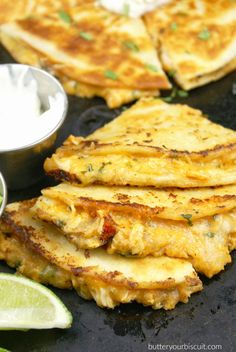 Sriracha Chicken Quesadilla    Lightly crispy on the outside, ooey gooey on the…