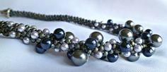 RESERVED Kumihimo beaded necklace, blue silver pearl cluster via Etsy