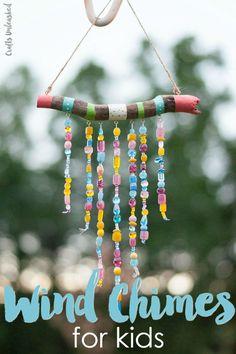 Keep the kids busy this summer with a fun craft project. Learn how to make DIY wind chimes for kids with this step by step tutorial! kids crafts DIY Wind Chimes For Kids: Step by Step - Consumer Crafts Fun Crafts For Kids, New Crafts, Diy For Kids, Easy Crafts, Craft Kids, Summer Kid Crafts, Garden Crafts For Kids, Creative Ideas For Kids, Kids Craft Projects