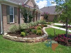 I love these stone landscaping. Put cement in-between the stone and let it ooze out! Stone Landscaping, Landscaping With Rocks, Landscaping Plants, Outdoor Landscaping, Outdoor Plants, Front Yard Landscaping, Outdoor Gardens, Landscaping Ideas, Landscape Curbing