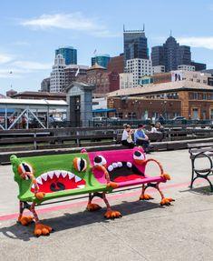 Buttmunch yarnbomb Monster benches san francisco ferry building
