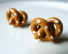 Polymer Clay Salted Pretzel Earring Studs by LaVieByVie on Etsy