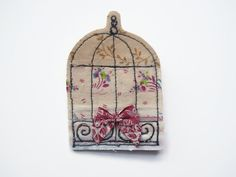 Bird cage fabric textile brooch badge pin gift by maxollieandme, £9.00