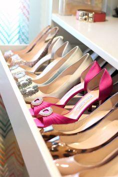 Walk in closet shoe organization