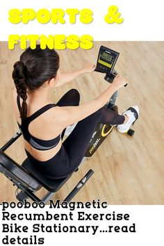 (This is an affiliate pin) pooboo Magnetic Recumbent Exercise Bike Stationary Indoor Cycling Bike with Pulse, Monitor and Adjustable Seat,Iphone Holder(Yellow) Indoor Cycling Bike, Recumbent Bike Workout, Iphone Holder, Cardio, Stationary, Monitor, Magnets, Exercise, Ads