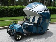 Custom Philadephia Eagles Helmet   Golf Cart