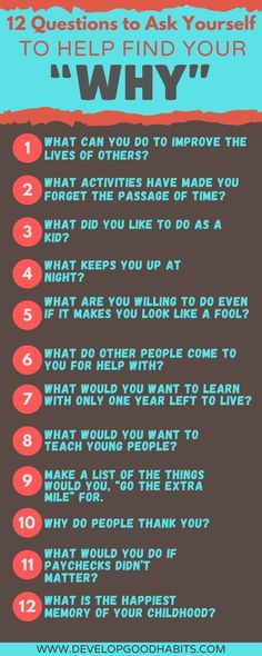 "What is the importance of knowing your ""why""? Why does ""why"" matter? This infographic features 12 questions to ask yourself to help you find your ""why"" in life and come to an understanding of how this drives your motivations and actions. #questions #selfimprovement #why"