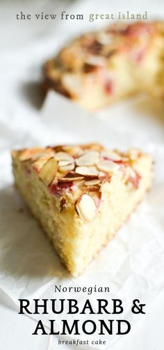 Norwegian Rhubarb and Almond Cake ~ a delicate breakfast or snack cake that features the unusual combination of tart rhubarb with almond. Adapt to make gluten-free and dairy-free. Sweet Recipes, Cake Recipes, Snack Recipes, Dessert Recipes, Snacks, Healthy Rhubarb Recipes, Norwegian Cuisine, Norwegian Food, Norwegian Recipes