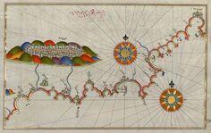 Mapa da costa da Andaluzia, com a cidade de Granada, por Piri Reis