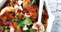 A roasted chicken with the glorious flavours of honey, harissa and cumin. Dive into this delightful dinner - served with fragrant mint and creamy feta.