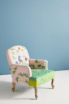 Artist Paige Gemmel for Anthropologie - Katie Considers Funky Furniture, Refurbished Furniture, Handmade Furniture, Painted Furniture, Furniture Stores, Patterned Furniture, Chaise Floral, Floral Chair, Chaise Diy