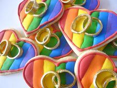 recipe - heart shaped rainbow wedding ring cookies