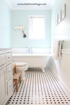 Vintage Stuff Vintage bathroom remodel with gorgeous tile floor. Keep it clean and shiny with Tide Oxi! - Powder Room Before Wainscoting Styles, Wainscoting Bathroom, Bathroom Renos, Bathroom Flooring, Small Bathroom, Wainscoting Height, Black Wainscoting, Painted Wainscoting, Condo Bathroom