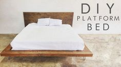 This diy platform bed frame is beautiful and modern - diy sweetsWhy buy a platform bed frame when you can build it yourself? Build this modern mid-century bed frame using our easy-to-understand tutorial. Diy Platform Bed Frame, Floating Platform Bed, Floating Bed Frame, King Size Platform Bed, Platform Bed With Storage, Modern Platform Bed, Wood Platform Bed, Diy Platform Bed Plans, Japanese Platform Bed