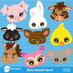 Farm Animal Faces Clipart by AMBillustrations on Cow Clipart, Farm Crafts, Image Paper, Baby Clip Art, Graphic Illustration, Illustrations, Illustration Animals, Animal Faces, Watercolor Animals