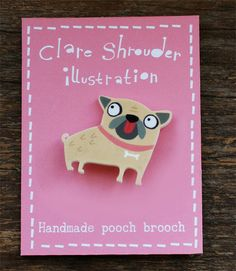 shrink plastic dog brooch by ClareShrouder on Etsy